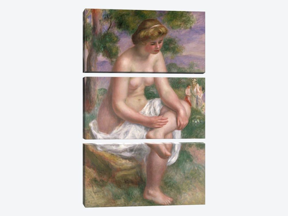 Seated Bather in a Landscape or, Eurydice, 1895-1900  by Pierre-Auguste Renoir 3-piece Canvas Art