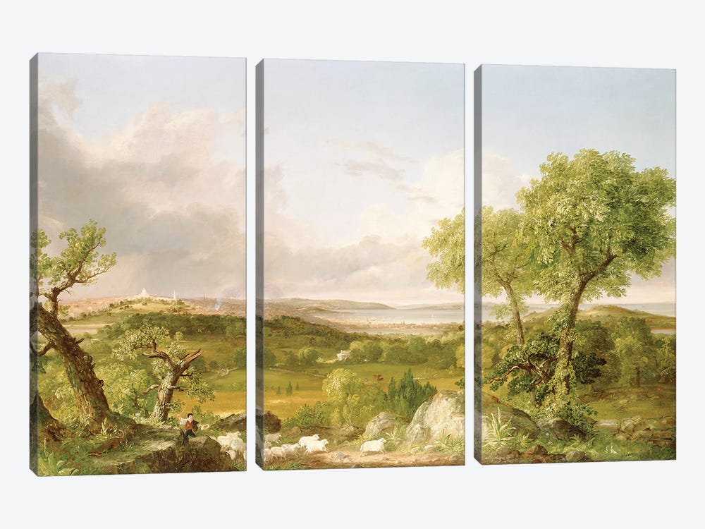 View of Boston  by Thomas Cole 3-piece Canvas Art Print