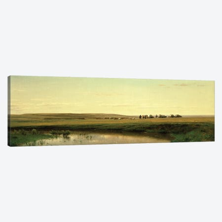 A Wagon Train on the Plains  Canvas Print #BMN4789} by Thomas Worthington Whittredge Canvas Art Print