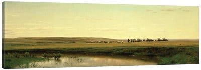 A Wagon Train on the Plains  Canvas Art Print