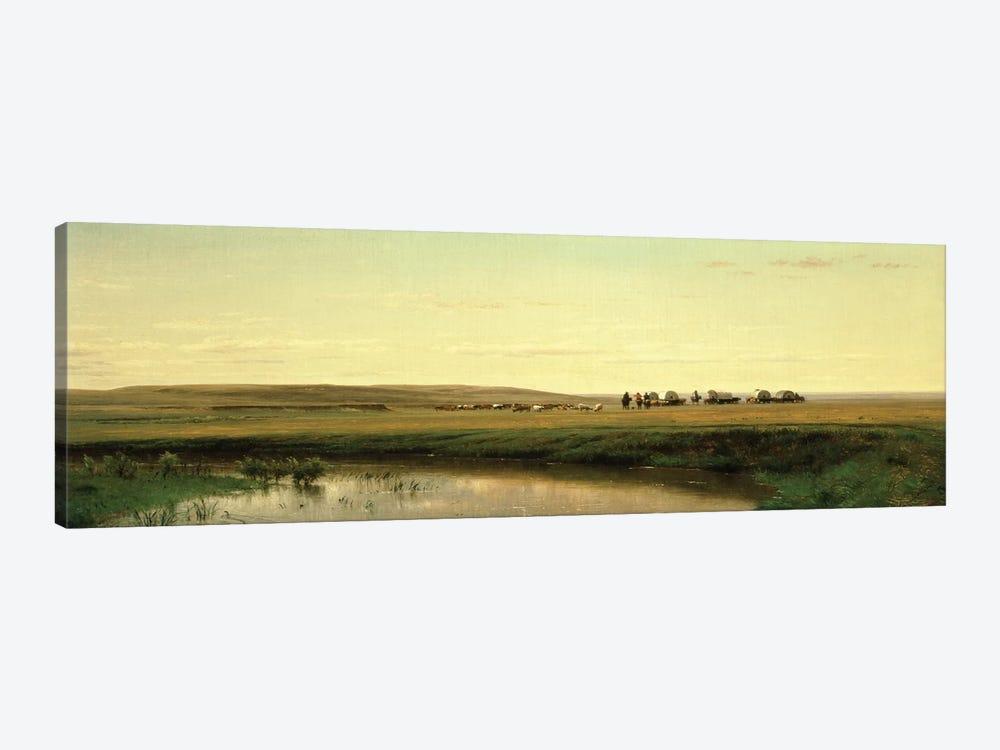 A Wagon Train on the Plains  by Thomas Worthington Whittredge 1-piece Canvas Print