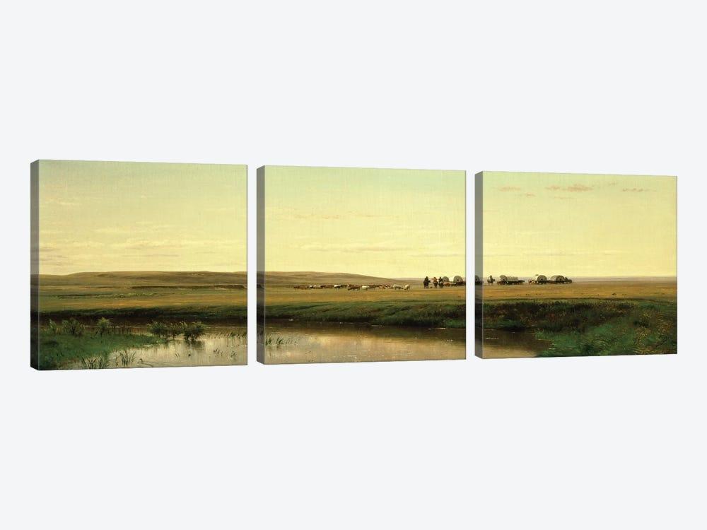 A Wagon Train on the Plains  by Thomas Worthington Whittredge 3-piece Canvas Art Print