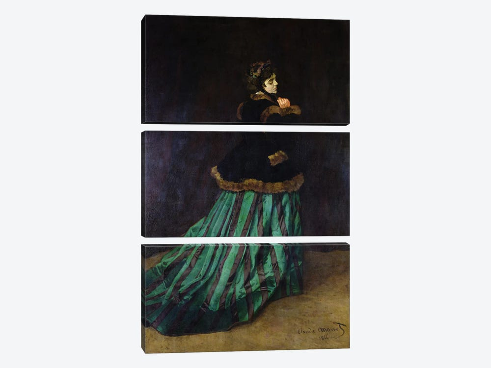 Camille, or The Woman in the Green Dress, 1866  by Claude Monet 3-piece Canvas Art Print