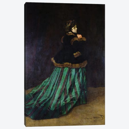 Camille, or The Woman in the Green Dress, 1866  Canvas Print #BMN478} by Claude Monet Art Print
