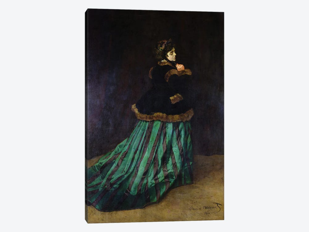 Camille, or The Woman in the Green Dress, 1866  by Claude Monet 1-piece Canvas Art Print