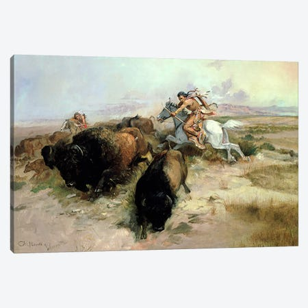 Buffalo Hunt, 1897  Canvas Print #BMN4791} by Charles Marion Russell Canvas Artwork