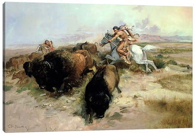 Buffalo Hunt, 1897  Canvas Art Print