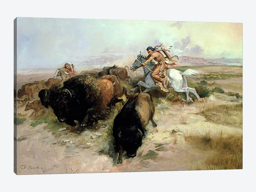 Buffalo Hunt, 1897  by Charles Marion Russell 1-piece Canvas Artwork