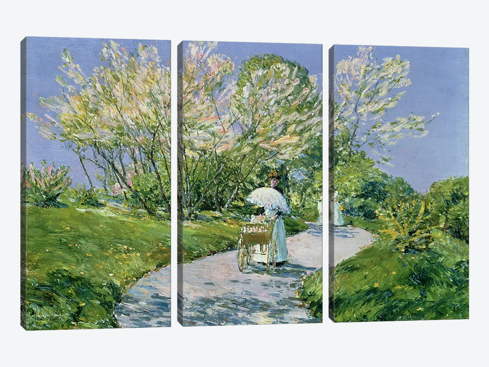 A Walk in the Park  by Childe Hassam 3-piece Art Print
