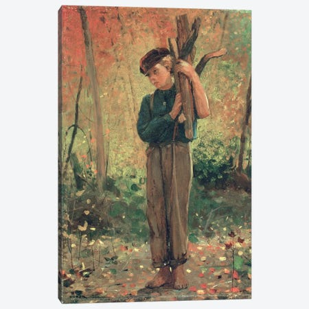 Boy Holding Logs, 1873  Canvas Print #BMN4798} by Winslow Homer Canvas Artwork