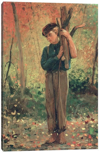 Boy Holding Logs, 1873 by Winslow Homer Canvas Artwork