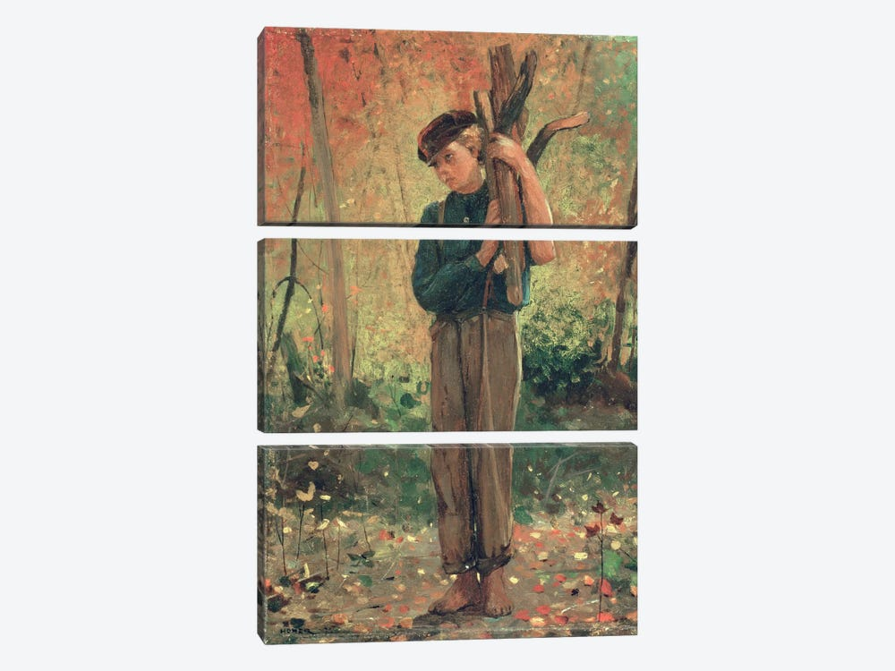 Boy Holding Logs, 1873  by Winslow Homer 3-piece Canvas Art Print
