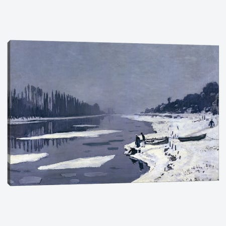 Ice floes on the Seine at Bougival, c.1867-68  Canvas Print #BMN479} by Claude Monet Canvas Print
