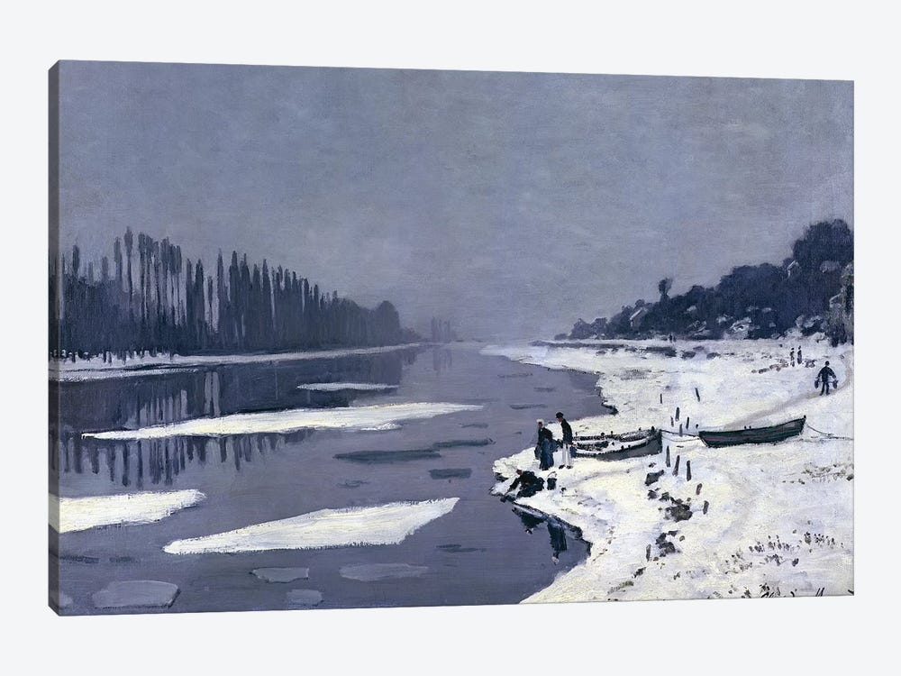 Ice floes on the Seine at Bougival, c.1867-68  by Claude Monet 1-piece Canvas Artwork