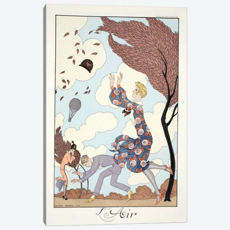 Air, from 'Falbalas & Fanfreluches, Almanach des Modes Présentes Canvas Print #BMN47} by Georges Barbier Canvas Print