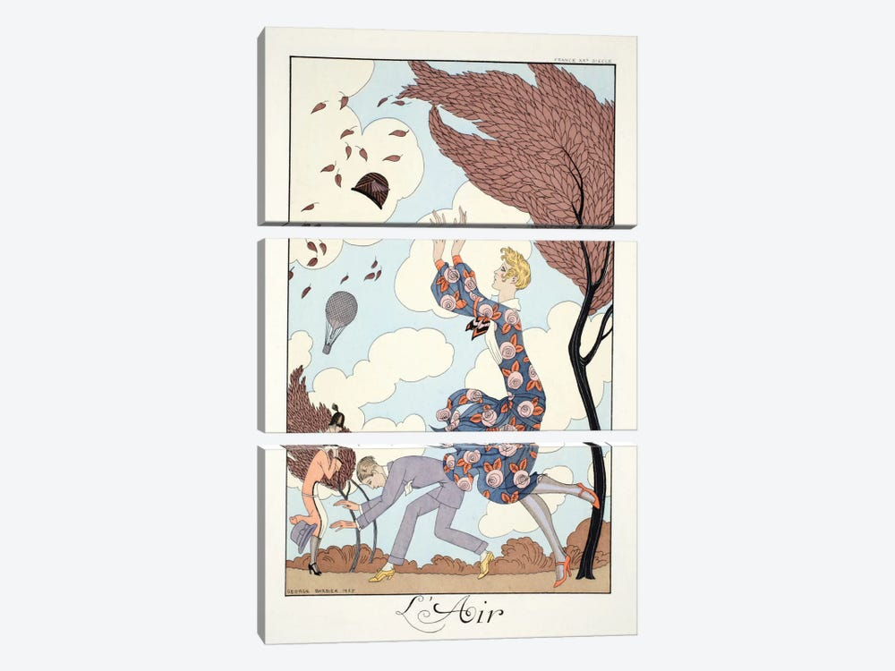 Air, from 'Falbalas & Fanfreluches, Almanach des Modes Présentes by George Barbier 3-piece Canvas Art Print