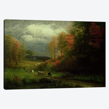 Rainy Day in Autumn, Massachusetts, 1857  Canvas Print #BMN4805} by Albert Bierstadt Art Print