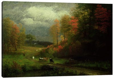 Rainy Day in Autumn, Massachusetts, 1857  Canvas Art Print