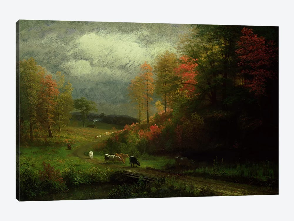 Rainy Day in Autumn, Massachusetts, 1857  by Albert Bierstadt 1-piece Canvas Art Print