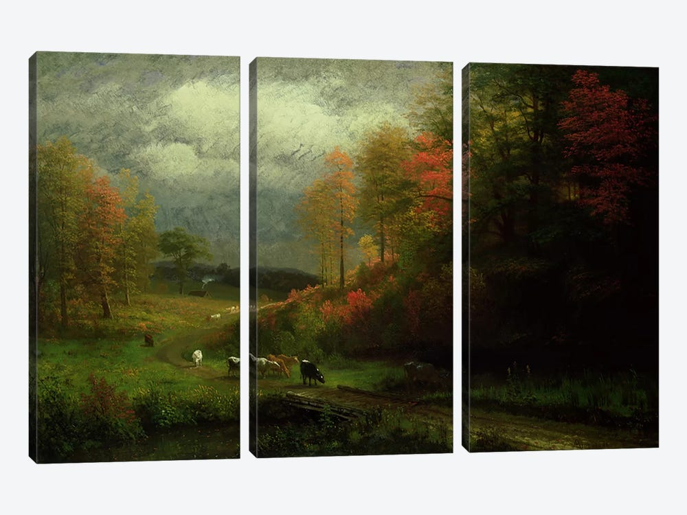 Rainy Day in Autumn, Massachusetts, 1857  by Albert Bierstadt 3-piece Canvas Print