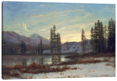 Snow in the Rockies by Albert Bierstadt Canvas Art Print