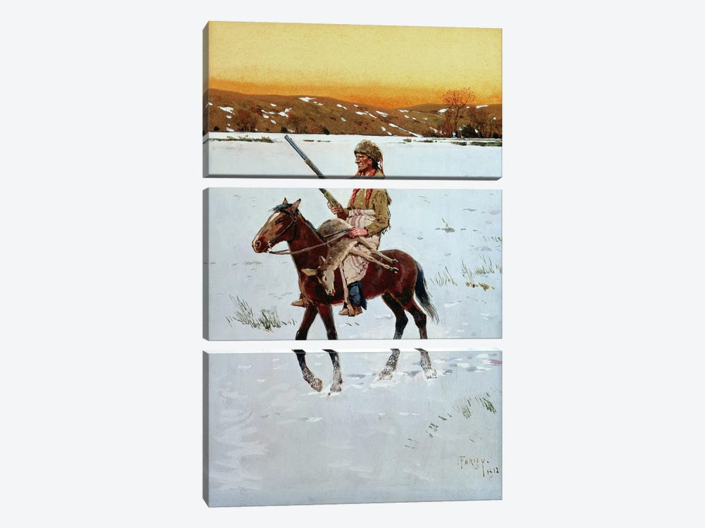 Indian Returning from the Hunt, 1912  by Henry Francois Farny 3-piece Canvas Artwork