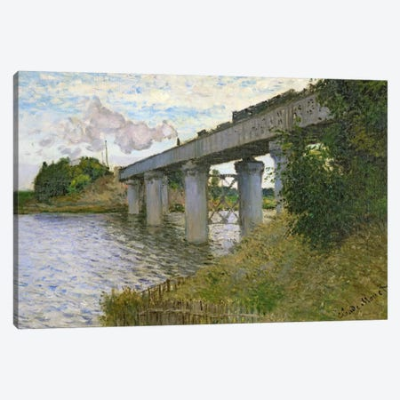 The Railway Bridge at Argenteuil, 1874  Canvas Print #BMN481} by Claude Monet Canvas Art