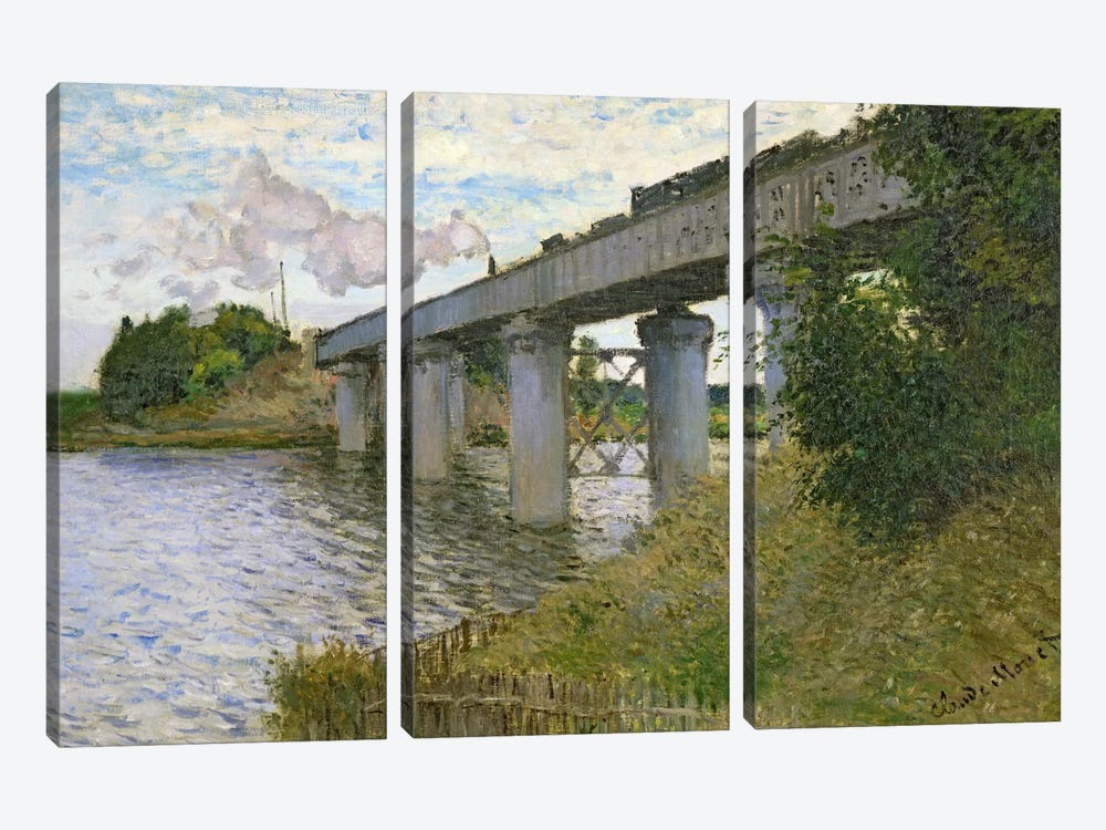The Railway Bridge at Argenteuil, 1874  by Claude Monet 3-piece Art Print