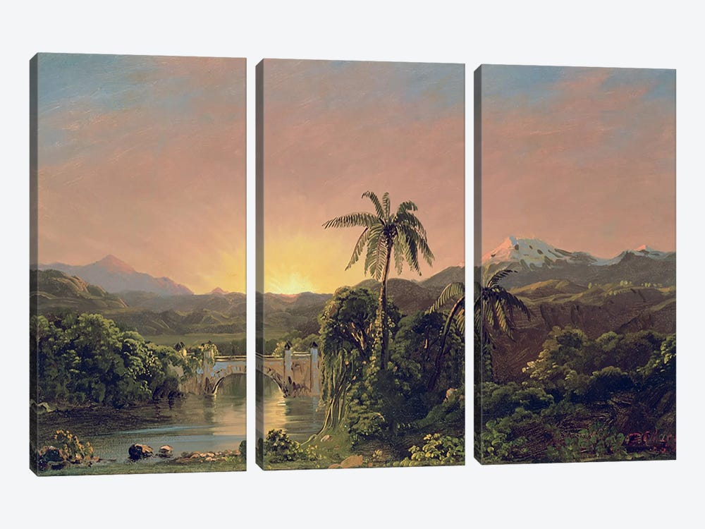 Sunset in Equador  by Frederic Edwin Church 3-piece Canvas Wall Art