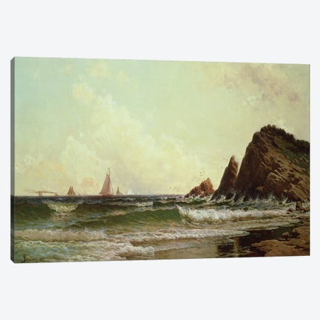 Cliffs at Cape Elizabeth, Portland Harbour, Maine, 1882  Canvas Print #BMN4821} by Alfred Thompson Bricher Canvas Artwork