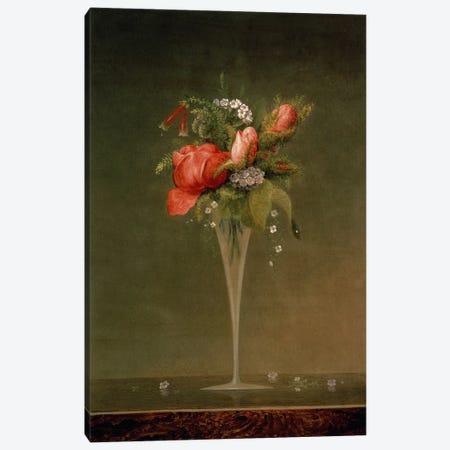 Still Life with Wine Glass, 1860  Canvas Print #BMN4826} by Martin Johnson Heade Canvas Print