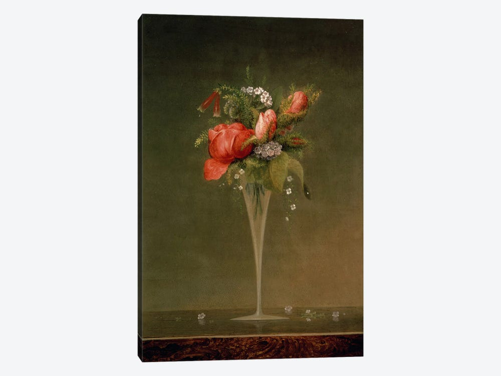Still Life with Wine Glass, 1860 by Martin Johnson Heade 1-piece Canvas Wall Art