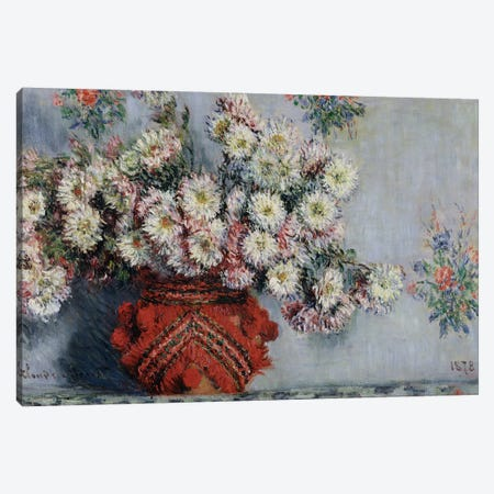 Chrysanthemums, 1878  3-Piece Canvas #BMN482} by Claude Monet Canvas Wall Art