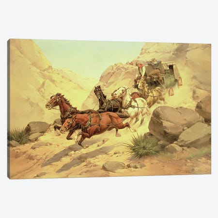 Attack on the Stagecoach  Canvas Print #BMN4831} by Herman Wendleborg Hansen Canvas Art Print