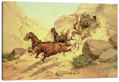 Attack on the Stagecoach Canvas Art Print