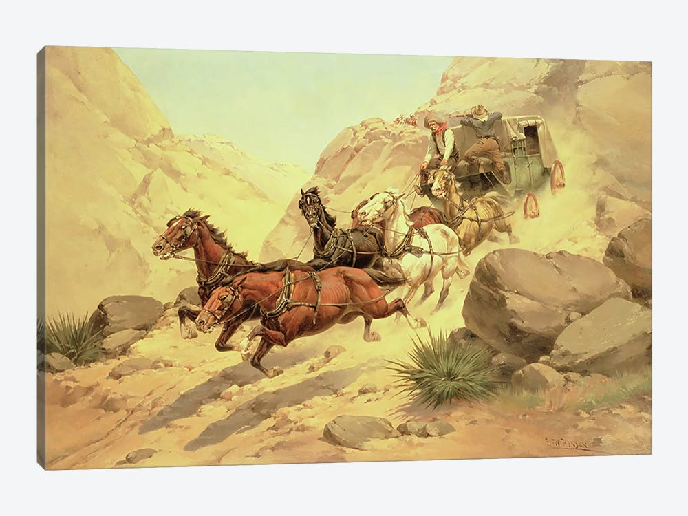 Attack on the Stagecoach  by Herman Wendleborg Hansen 1-piece Canvas Wall Art
