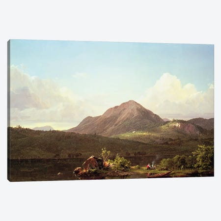 Camp Fire in the Maine Wilderness Canvas Print #BMN4833} by Frederic Edwin Church Canvas Print