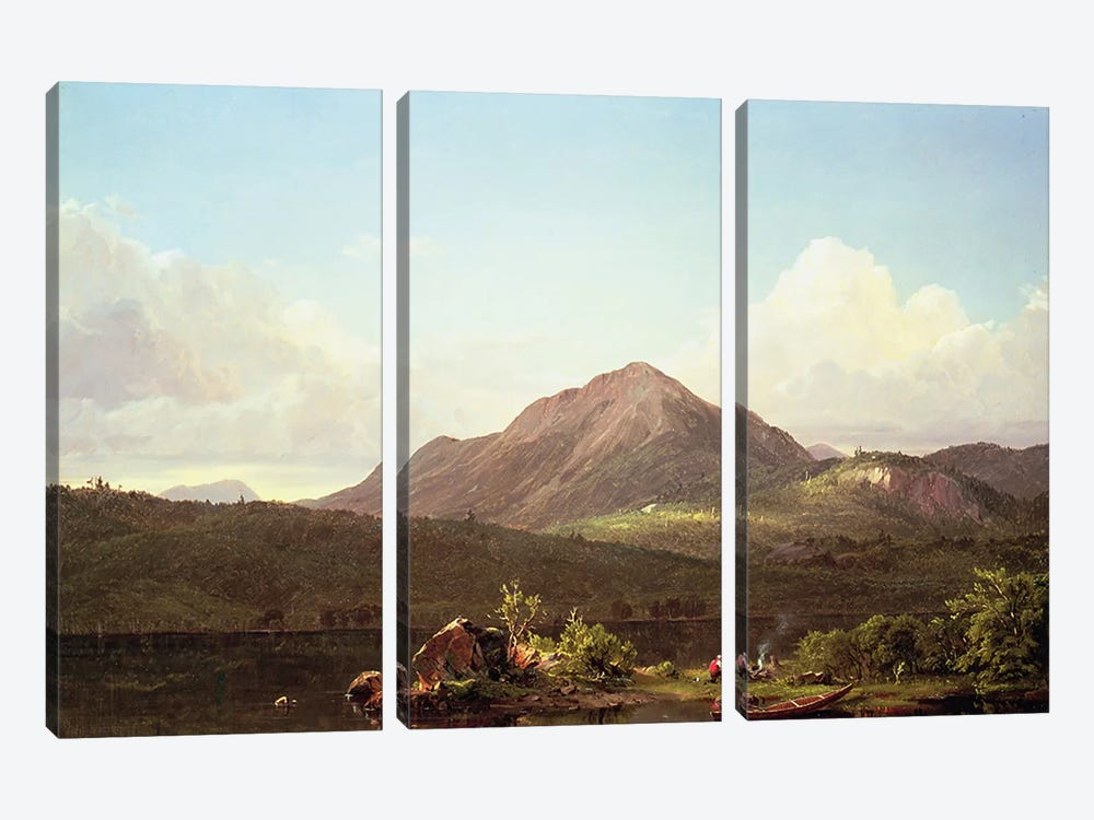 Camp Fire in the Maine Wilderness by Frederic Edwin Church 3-piece Canvas Artwork