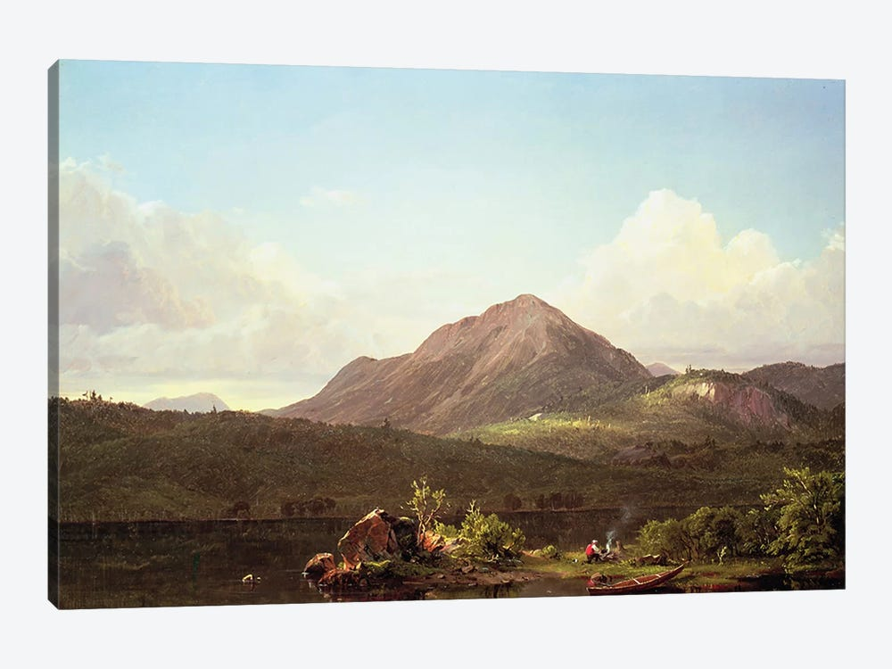 Camp Fire in the Maine Wilderness  by Frederic Edwin Church 1-piece Canvas Artwork