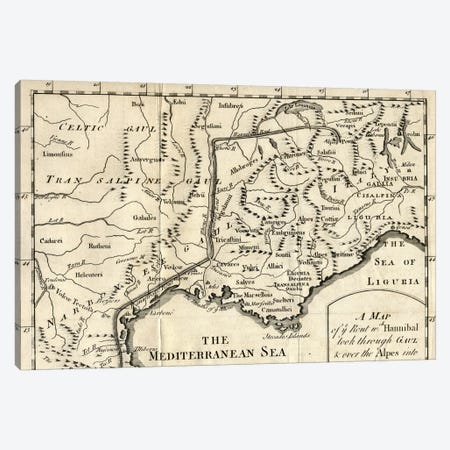 A Map of the Route Hannibal took through Gaul and over the Alps into Italy  Canvas Print #BMN4838} by English School Art Print