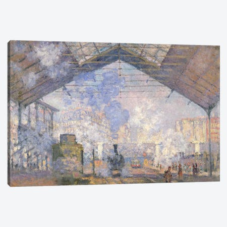 The Gare St. Lazare, 1877  Canvas Print #BMN483} by Claude Monet Canvas Art