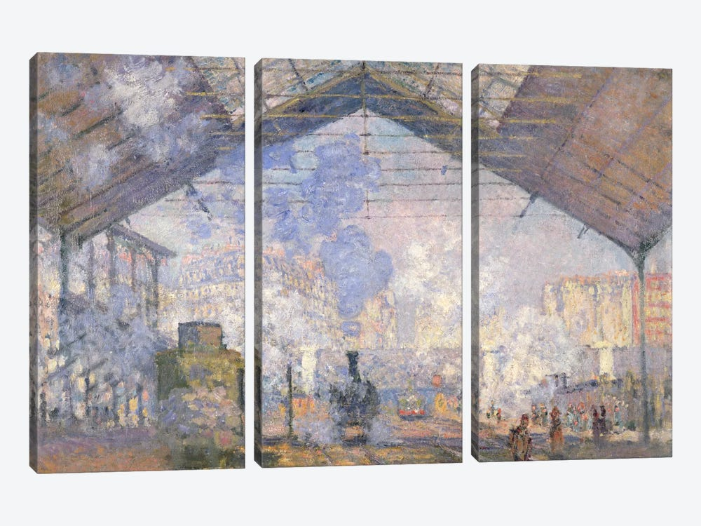 The Gare St. Lazare, 1877 3-piece Canvas Print