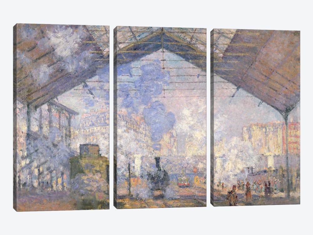 The Gare St. Lazare, 1877  by Claude Monet 3-piece Canvas Print