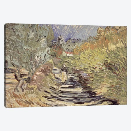 A Road in St. Remy with Female Figures, 1889  3-Piece Canvas #BMN484} by Vincent van Gogh Canvas Art Print