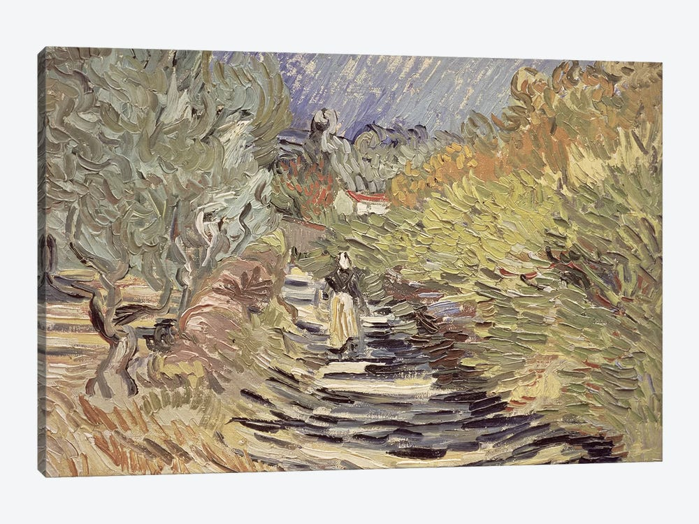 A Road in St. Remy with Female Figures, 1889  by Vincent van Gogh 1-piece Canvas Artwork
