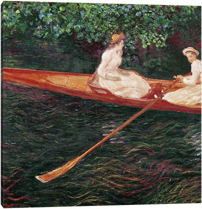 Boating on the river Epte, c.1889-1890  Canvas Art Print