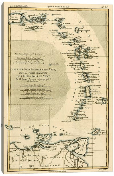 The Lesser Antilles or the Windward Islands, with the Eastern part of the Leeward Islands Canvas Art Print