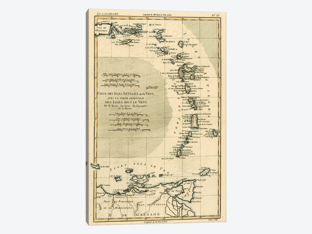 The Lesser Antilles or the Windward Islands, with the Eastern part of the Leeward Islands by Charles Marie Rigobert Bonne 1-piece Canvas Art
