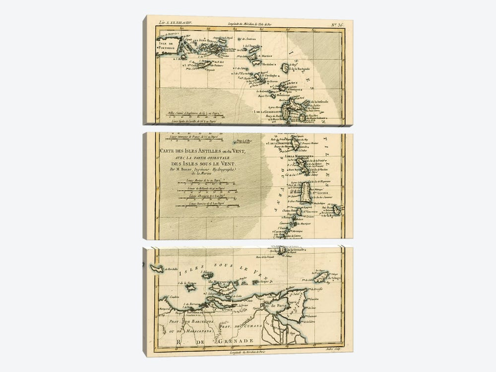 The Lesser Antilles or the Windward Islands, with the Eastern part of the Leeward Islands by Charles Marie Rigobert Bonne 3-piece Canvas Art