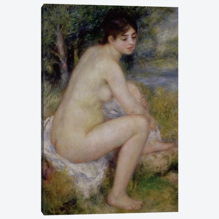 Nude in a Landscape, 1883  Canvas Print #BMN487} by Pierre-Auguste Renoir Canvas Art Print